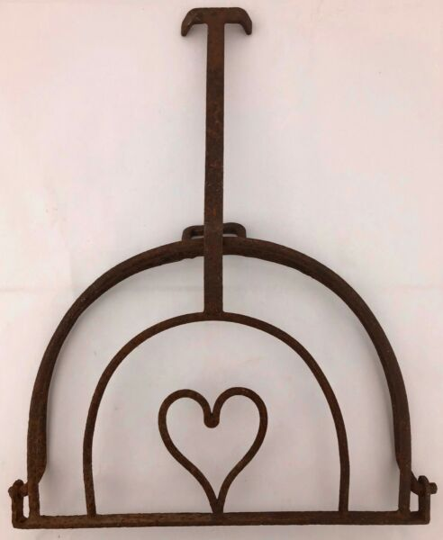 French Fireplace Forged Iron Pot Holder with Forged Heart Shaped Interior 1800s