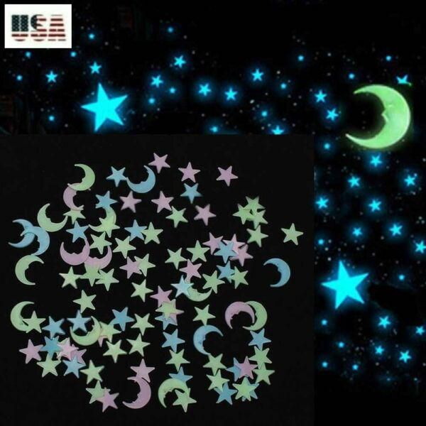 Glow In The Dark 50 100 200 3D Stars Half Moon Mix Color Wall Decor 3 Sizes $9.95