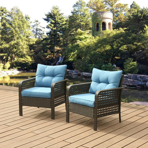 2 PCS Chair Outdoor Patio Furniture Rattan Sofa Wicker Cushions Table Set Blue