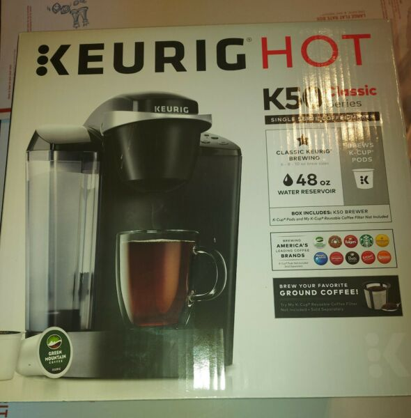 New KEURIG Hot K50 Classic Series Single Serve Coffee Maker Brewer Black Sealed
