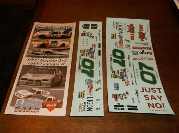 Larry Moyer #07 1986 HOOTERS Pontiac 22 1 24th scale decals LoboGraphix $13.00