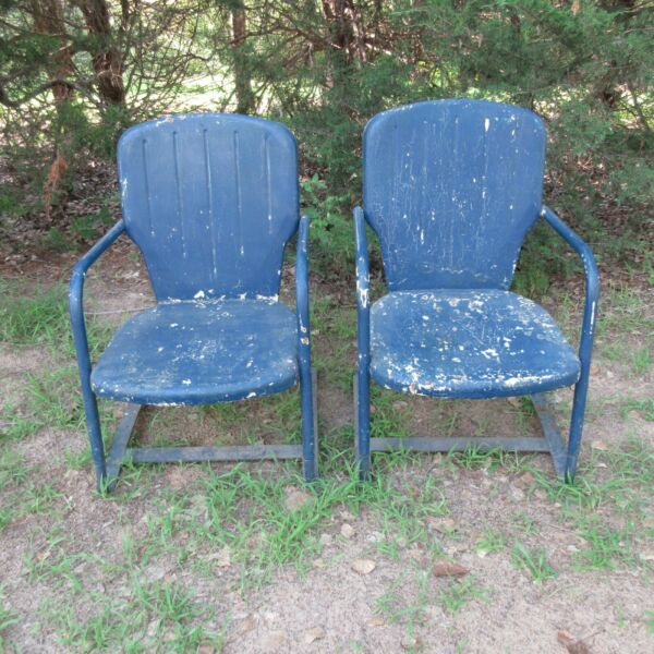 Vintage Metal Outdoor Patio Chairs $80.00