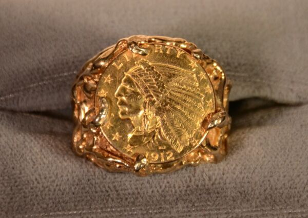 Unique Large 14K Gold Nugget Coin Ring W $3.4k Appraisal 19.4 Grams $2000.00