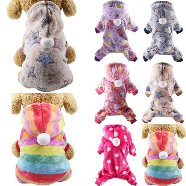Puppy Dog Fluffy Hooded Coat Pajamas Jumpsuit Cats Apparel Hoodie French Bulldog $9.11