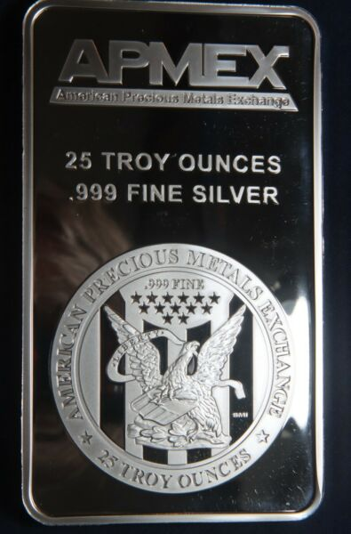 APMEX 25 OZ .999 SILVER BAR LOT 081031
