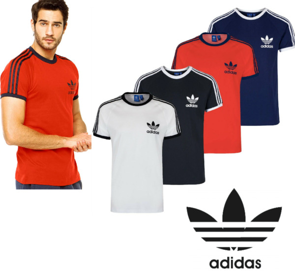 Adidas Originals California Men#x27;s T Shirt Trefoil Retro 3 Stripes Short Sleeve