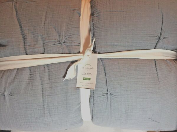 Pottery Barn NWT Soft Cotton Handcrafted Quilt Blue King Cal. King $179.95