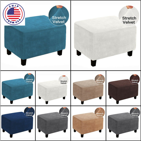 Hot Sofa Couch Protector Footstool Cover Velvet Ottoman Storage Slipcover $15.99
