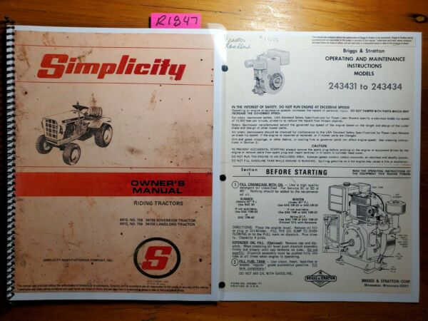 Simplicity 756 3410S Landlord Riding Tractor Owner Operator amp; Parts Manual Bamp;S