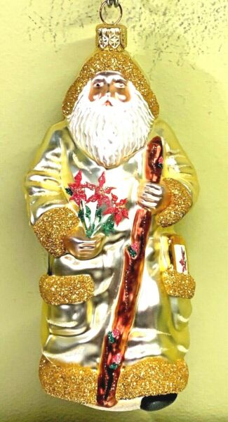 Patricia Breen Santa For Kevin Winter Gold Poinsettia Glass Milaegers 2000 #2096 $88.88