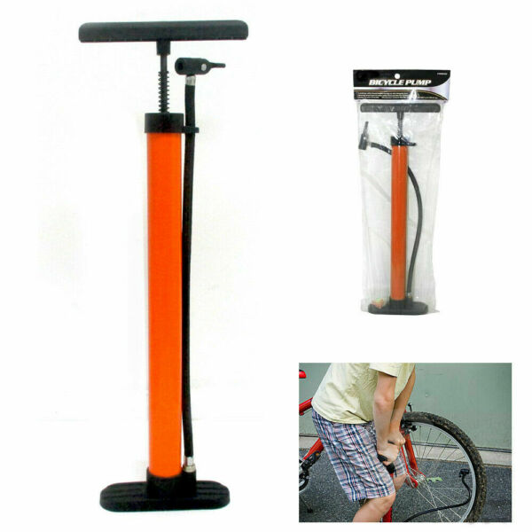 Bicycle Floor Pump Metal Hand Foot Air Bike Tire Shrader Valve 60 PSI 19quot; New $19.75