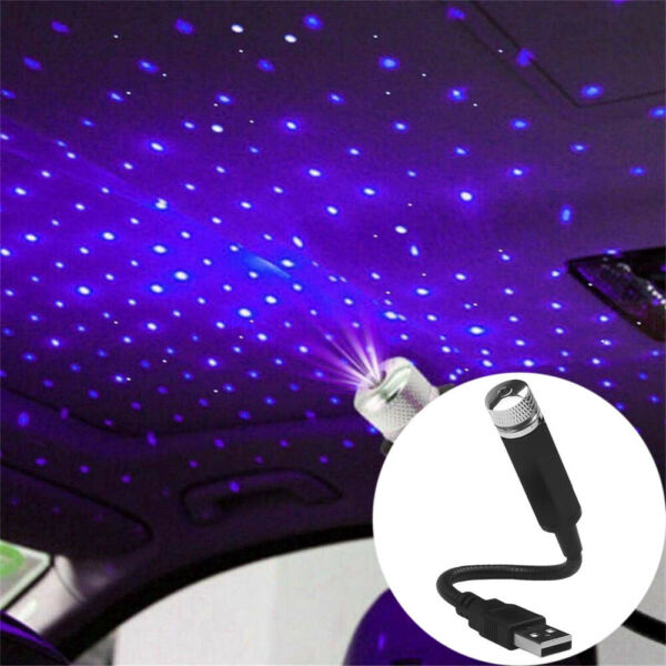 Car Roof USB Star Projector Night Light Car Interior LED Decorative Lights Blue