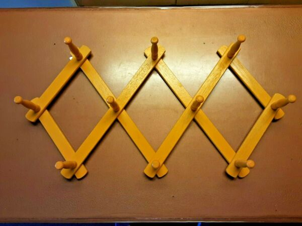 Yellow Accordian Wall Hanger Expanding towel wall Rack Hat Or Coat Mount $24.94