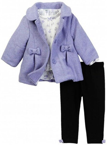 Little Me Lilac Bow Baby Girl Jacket Set with shirt and Leggings 3 Pieces $19.90