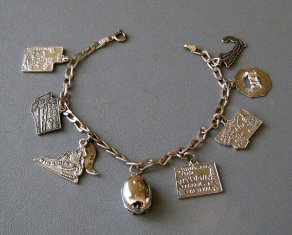 VINTAGE STERLING SILVER STATE CHARM BRACELET 8 CHARMS