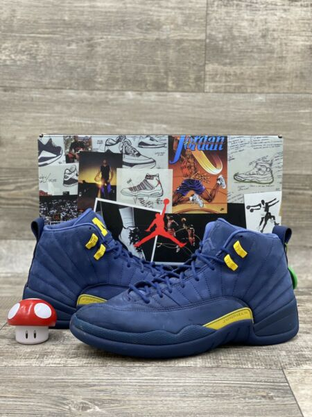 Nike Air Jordan XII 12 Retro Michigan NRG PE Navy Blue Yellow BQ3180 407 Size 11