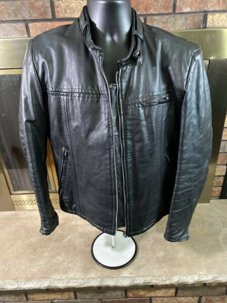VINTAGE Sears The Mens Store Black Motorcycle Jacket Leather Cafe Racer Mens 42