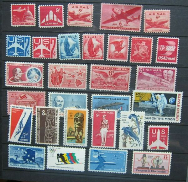 US Air Mail collection C32 C86 1944 73 30 stamps MNH