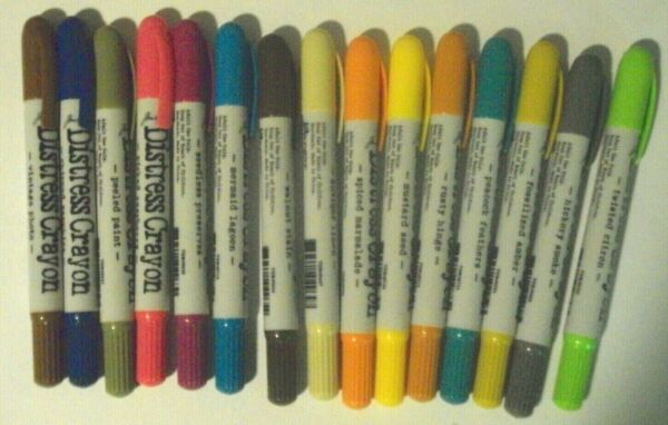 Tim Holtz Distress Crayons 15 Crayons of Different Colors NEW