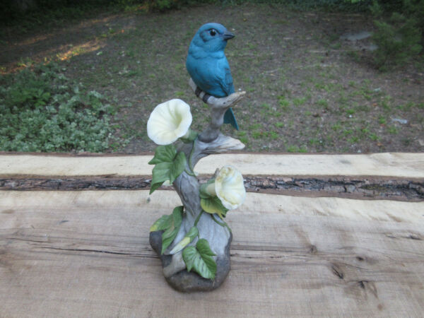 Boehm Indigo Bunting sculpture tall 10quot; porcelain bird figure