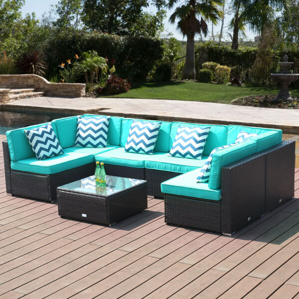 7 PC Patio Sofa Conversation Sectional Checkered Wicker Rattan Seat Outdoor Blue
