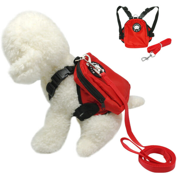Dog Backpack Carrier Cute Soft Harness and Leash Travel Treat Bag for Small Dogs $9.99
