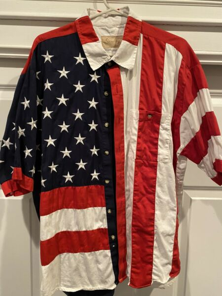 Scully American Flag Short Sleeve Button Down Western Shirt XL