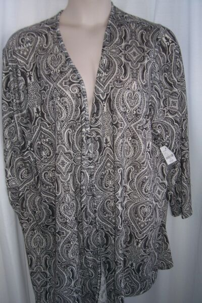 Catherines Plus 4X Black White Gray Paisley Soft Knit Open FrontCardigan Top NWT