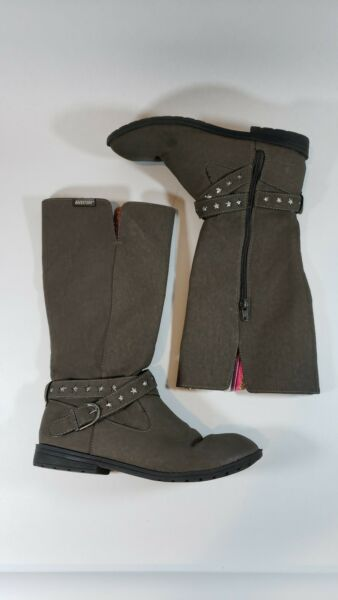 Rocket Dog Girls Gray Boots with Stars Size 4 Partial Inside Zip $14.99