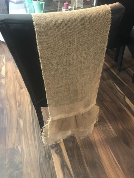 Burlap Table Runner With Double Ruffles