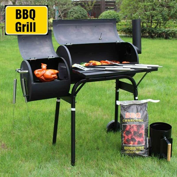 45#x27;#x27; Outdoor BBQ Charcoal Grill Smoker Barbecue Pit Patio Backyard Meat Cooker