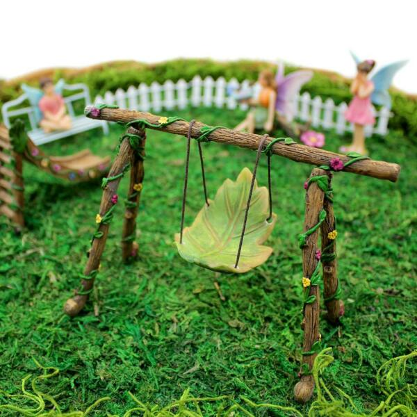 Leaf Swing Set Miniature Accent Furniture for Fairy Garden Planter Yard $11.99
