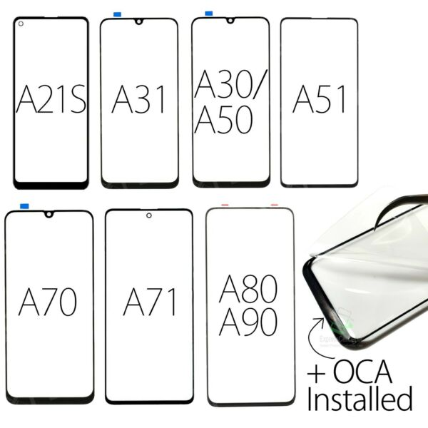 Samsung Galaxy A21 S 31 50 51 70 71 80 Replacement Screen Front Outer GlassOCA