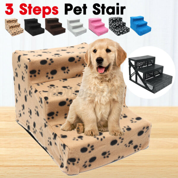 3 Steps Pet Stairs Portable Cat Dog Step Ramp Small Climb Ladder w Cover US