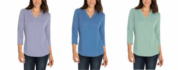 Orvis Ladies#x27; 3 4 Sleeve V Neck Linen Blend Top