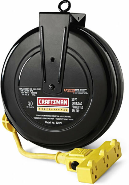 Craftsman Cord Reel 30 Inch Resettable Circuit Breaker 3 Grounded Outlets Tool