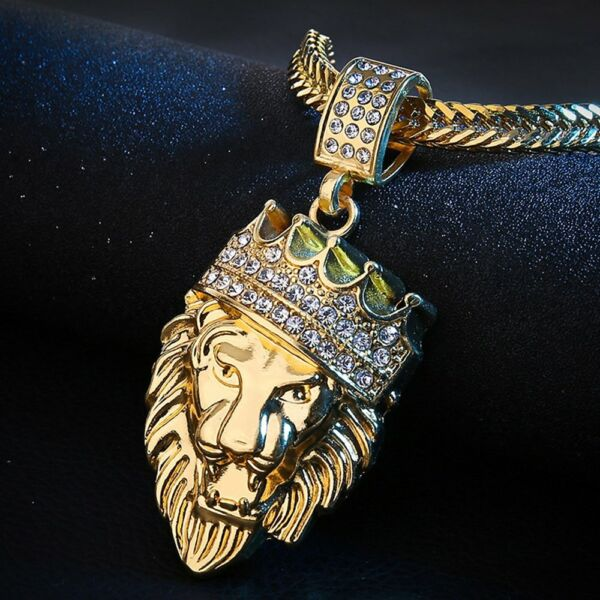 Men#x27;s Stainless Steel Lion NECKLACE WITH 18quot; Chain Necklace in 18K Gold $9.99
