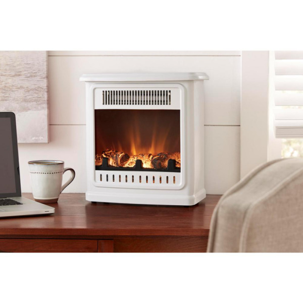 Flame Display Desktop Electric Fireplace Heater 13 inch Room Personal LED White