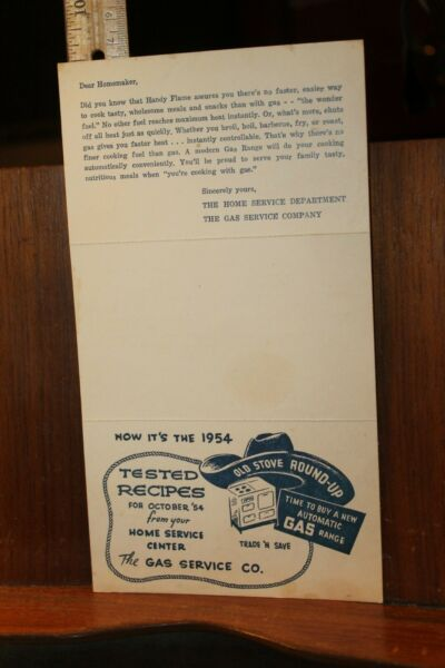 Vintage 1954 The Gas Service Center Recipe Card Brochure Old Stove Round Up