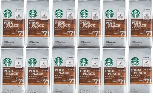 12 PACK Starbucks Pike Place Ground Coffee 12 oz BEST BEFORE September 2020