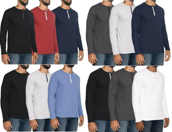 Mens Henley Long Sleeve Fashion Casual Fit T Shirts Cotton Heavyweight Outerwear $9.89