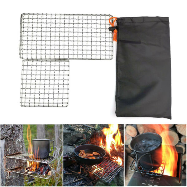 2Pc Camping Barbecue Grill Camp Fire Cooking Rack Grate Outdoor BBQ Picnic Rack