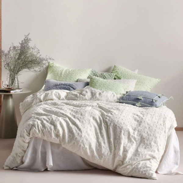 Linen House Benedita Mint 100% Cotton Quilt Cover Duvet Doona Set King Size AU $243.99