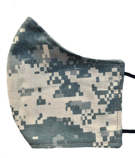 ACU Digital Camo Face Mask ADULT Large Reusable Washable Camouflage Nose Wire