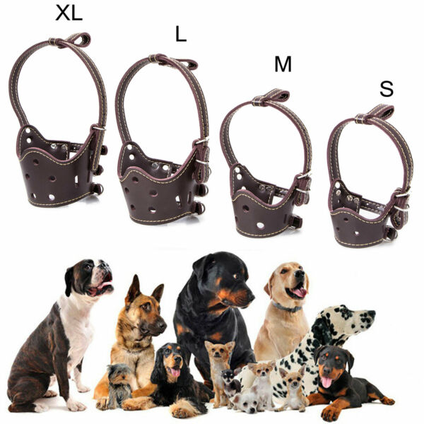 Large Small Dog Leather Pet Adjustable Muzzle Soft No Bark Bite Chew Gears $11.79