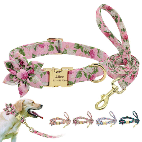 Cute Nylon Small Large Dog Personalized Collar and Leash ID Tags Engraved Pink $15.99