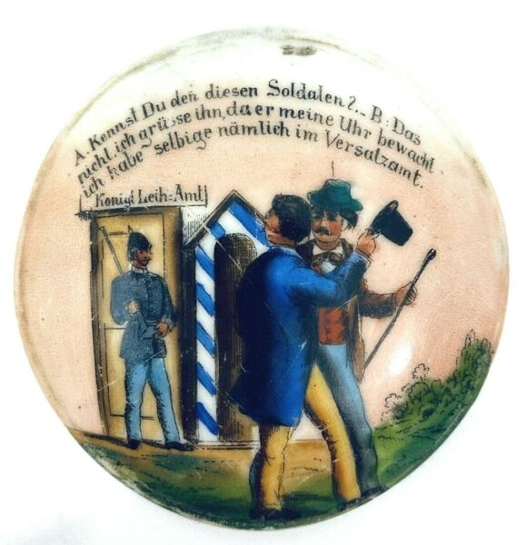 Antique Beer Stein Inlay Lid Recovered from a broken stein Writing found