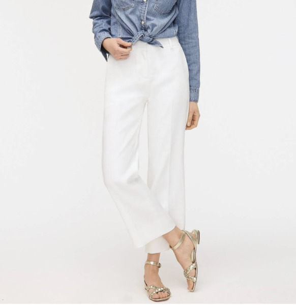J Crew *PEYTON* Linen Stretch White Pants Wide Leg High Rise Petite 2 2P $40.00