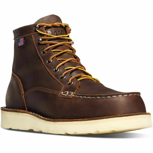 Danner Boots 15563 Bull Run Moc Toe 6quot; Wedge Sole Work Leather Brown EE Wide 9