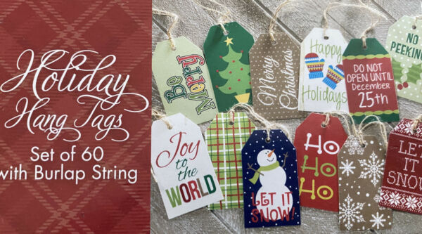 Gift Tags with String Christmas Holiday Plaid Design Paper Tags BurLap 60 Pc